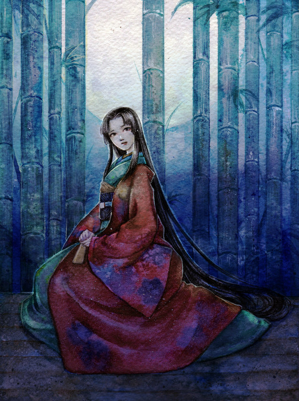 Kaguya__watercolor__by_jurithedreamer